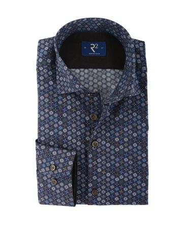R2 Overhemd Donkerblauw Print