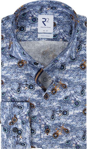 R2 Overhemd Fiets Print Blauw