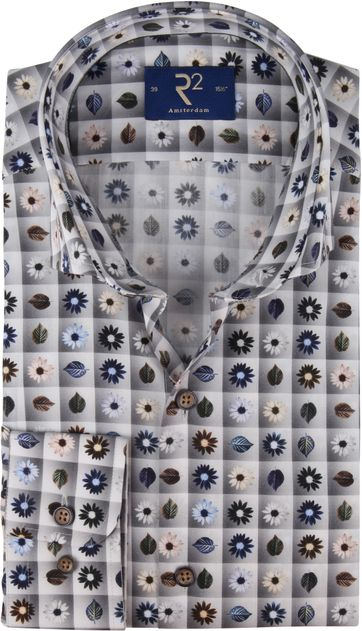 R2 Overhemd Grijs Bloemen