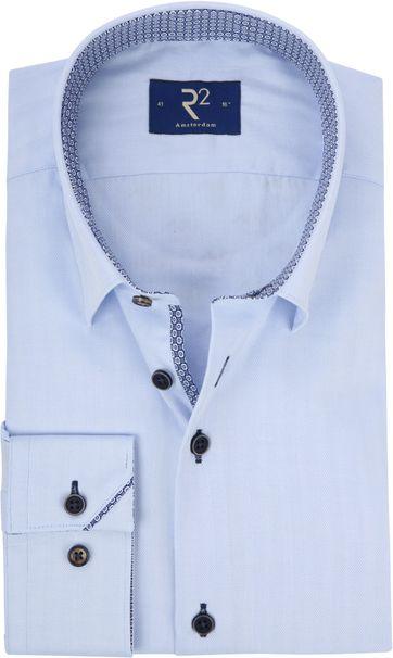R2 Overhemd Herringbon Blauw
