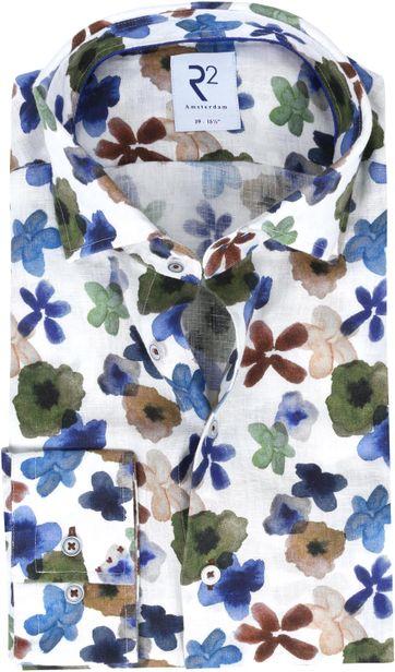 R2 Overhemd Linnen Bloemen Multicolour