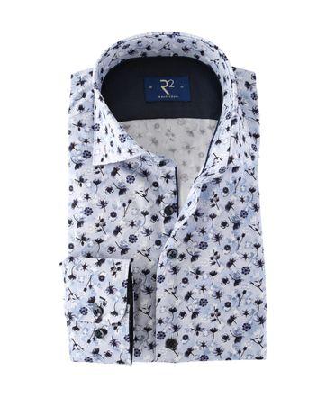 R2 Overhemd Modern Fit Blauwe Bloemen