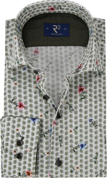 R2 Overhemd Poplin Groen Bloemen