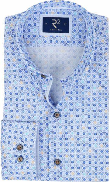 R2 Overhemd Print Blauw