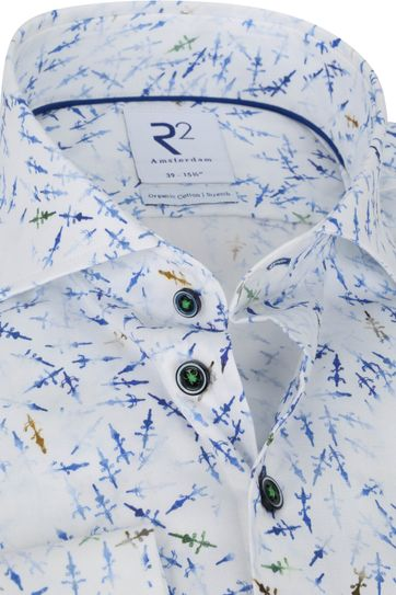 R2 Overhemd Print Blauw Wit