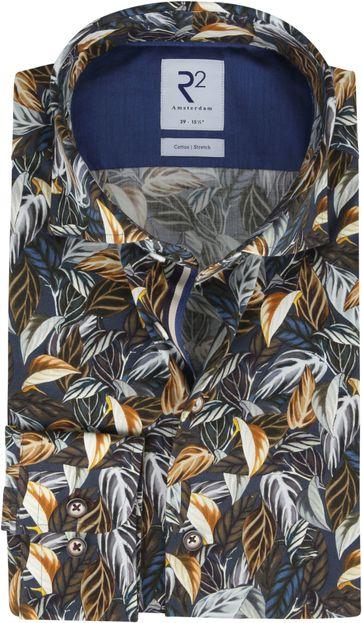 R2 Overhemd Twist Bloemen Donkerblauw
