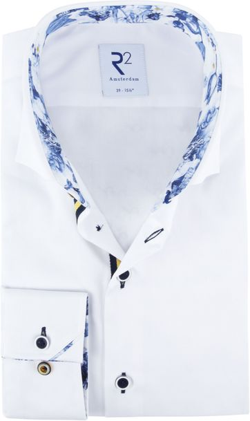 R2 Overhemd Wit Blauw Bloem