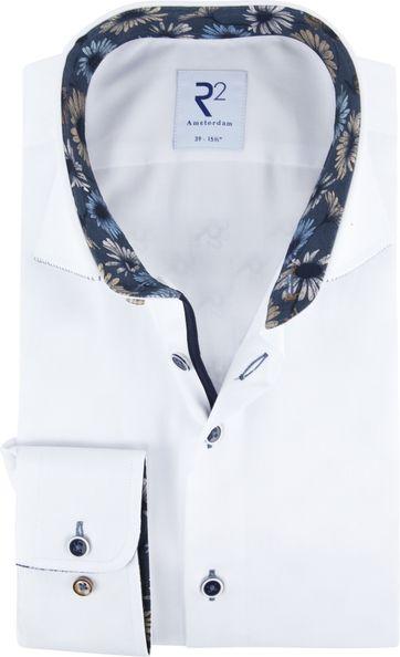 R2 Overhemd Wit Bloem Details