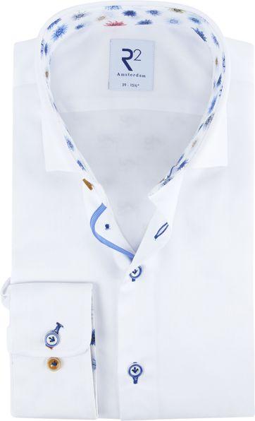 R2 Overhemd Wit Bloemen Details