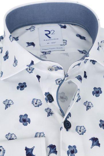 R2 Overhemd Wit Bloemen Donkerblauw