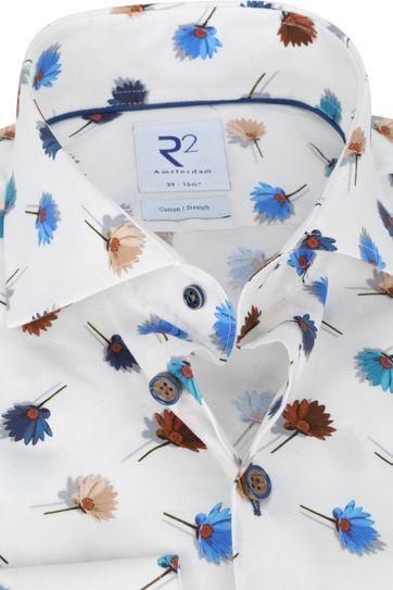 R2 Overhemd Wit Bloemen Multi Color
