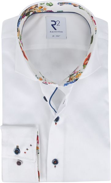 R2 Overhemd Wit Bloemen Multicolour