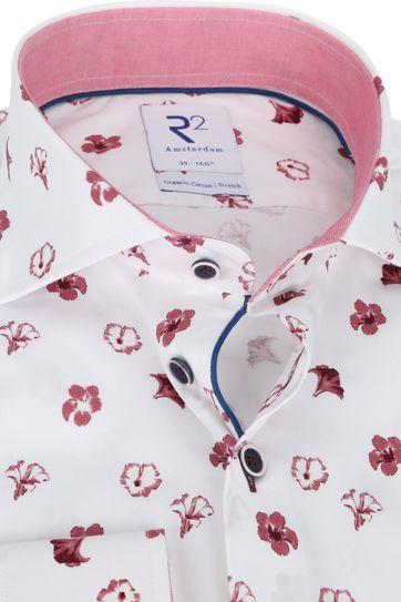 R2 Overhemd Wit Bloemen Rood