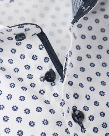 Detail R2 Overhemd Wit + Donkerblauw Bloem