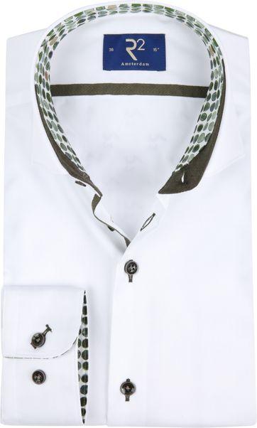 R2 Overhemd Wit Groen