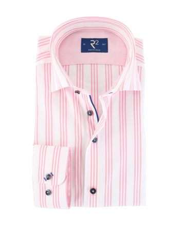 R2 Overhemd Wit/Roze Strepen