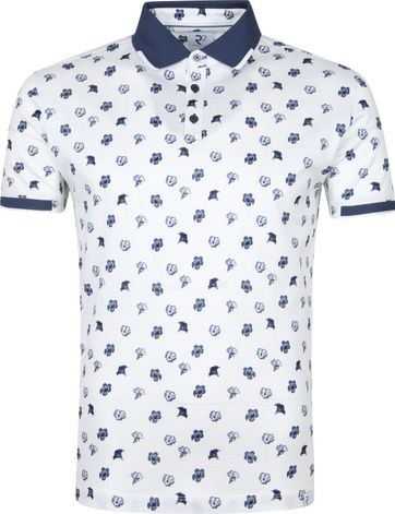 R2 Polo Shirt 003 Flowers Blue