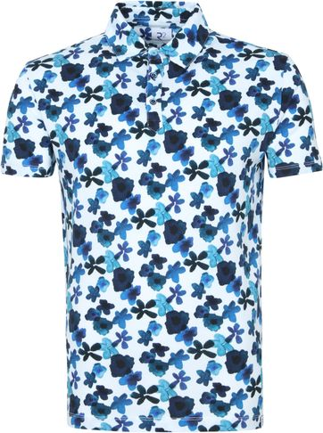 R2 Polo Shirt Multicolour Flowers Blue