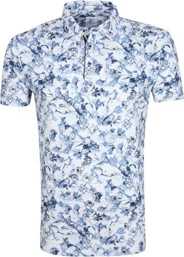 R2 Poloshirt Blumen Blau
