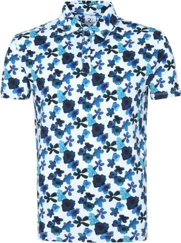 R2 Poloshirt Multicolour Blumen Blau