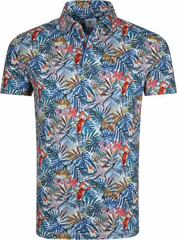 R2 Poloshirt Multicolour Jungle Leaves