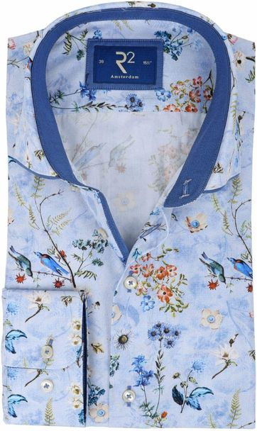 R2 Shirt Blauw Bloemen