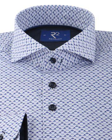 Detail R2 Shirt Blauw Print Cutaway