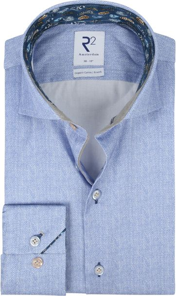 R2 Shirt Blue Herringbone