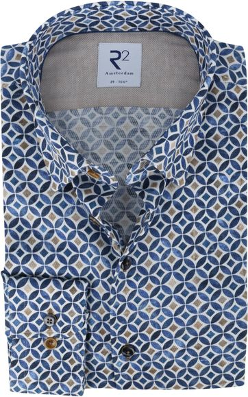 R2 Shirt Cirkel Pattern Blue