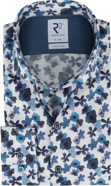 R2 Shirt Dark Blue Flowers