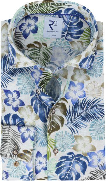 R2 Shirt Linen 073 Flowers Multicolour