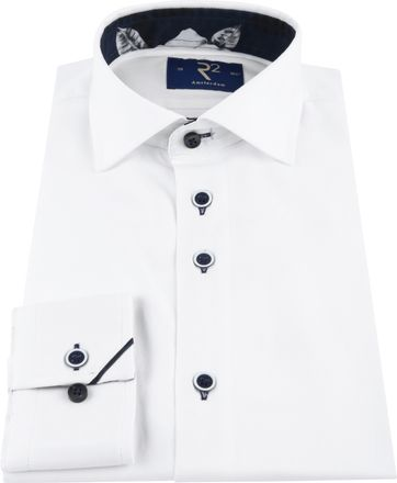 R2 Shirt Uni Navy Flower White