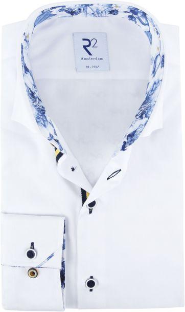 R2 Shirt White Blue Flower