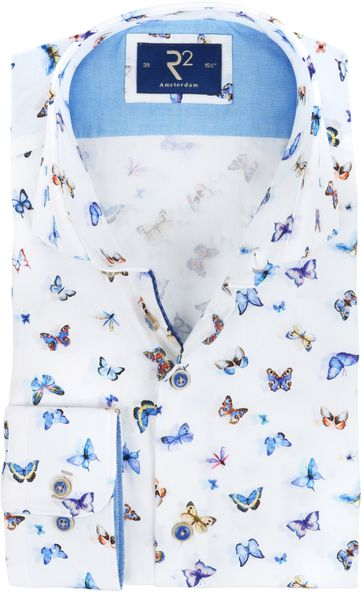 R2 Shirt White Butterflies
