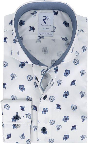 R2 Shirt White Flowers Dark Blue