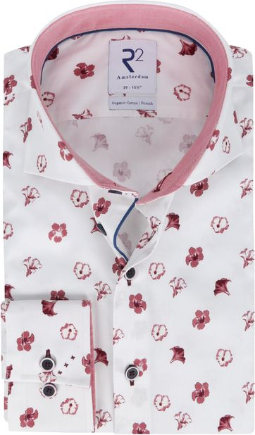 R2 Shirt White Flowers Red