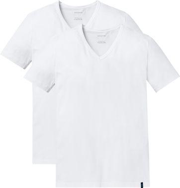 Schiesser T-shirt V-hals Wit (2Pack)