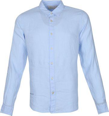 Scotch and Soda Hemd Leinen Garment Dyed Blau