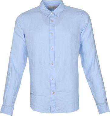 Scotch and Soda Hemd Linnen Garment Dyed Blauw