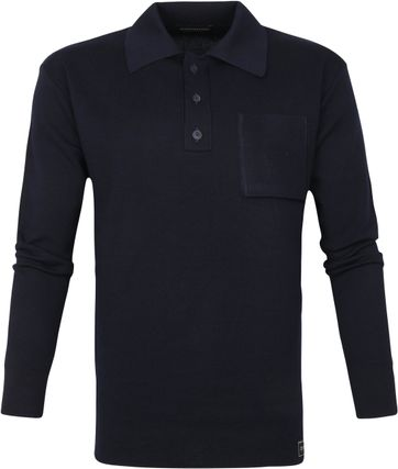 Scotch and Soda Merinowol Polo Trui Donkerblauw