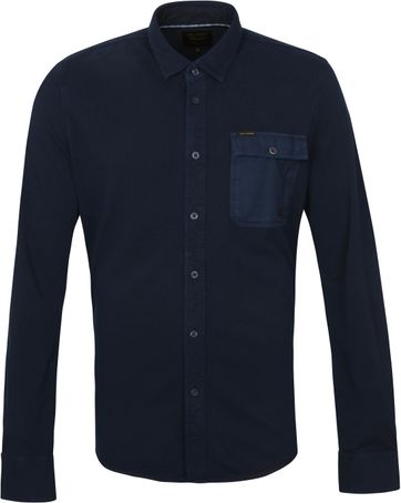 Scotch and Soda Overhemd Garment Dye Donkerblauw
