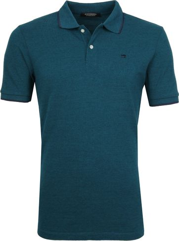 Scotch and Soda Polo Melange Donkergroen