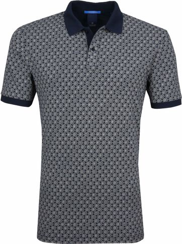 Scotch and Soda Polo Shirt Printed Navy