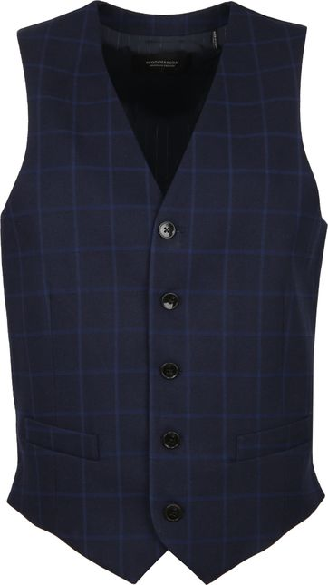 Scotch and Soda Waistcoat Check Navy