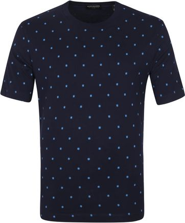 Scotch & Soda T Shirt All-Over Muster Navy
