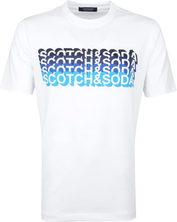 Scotch & Soda T-Shirt Logo Artwork Weiß