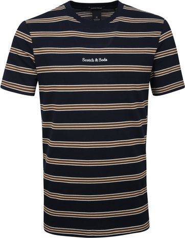 Scotch & Soda T-shirt Stripes Navy Brown
