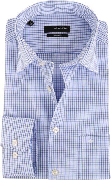 Seidensticker Hemd Bügelfrei Modern Blau Weiß Kariert