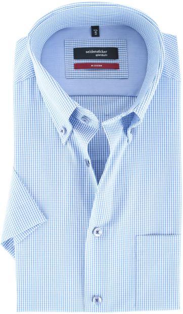 Seidensticker Hemd Modern Fit Korte Mouw Blauw Ruit