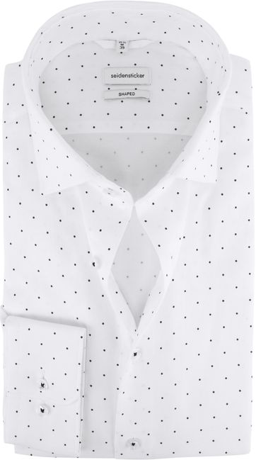 Seidensticker Hemd Shaped-Fit Wit Stippen
